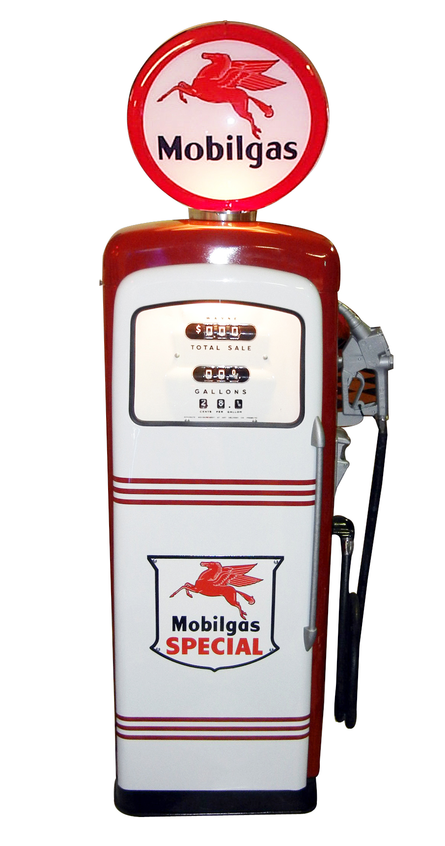 Gorgeous 1956 Mobil Oil Wayne 90 restored service station gas pump.  Restored to show car quality standards. - Front 3/4 - 133455