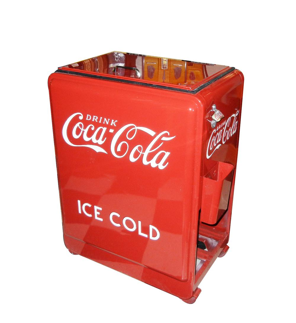 Flawlessly restored 1930s Coca-Cola Westinghouse service station Junior Soda Cooler. - Front 3/4 - 133465