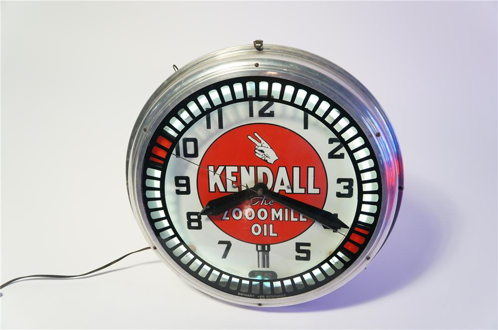 Incredible all original 1930s Kendall Motor Oil neon service station clock with animated wheel. - Front 3/4 - 133466