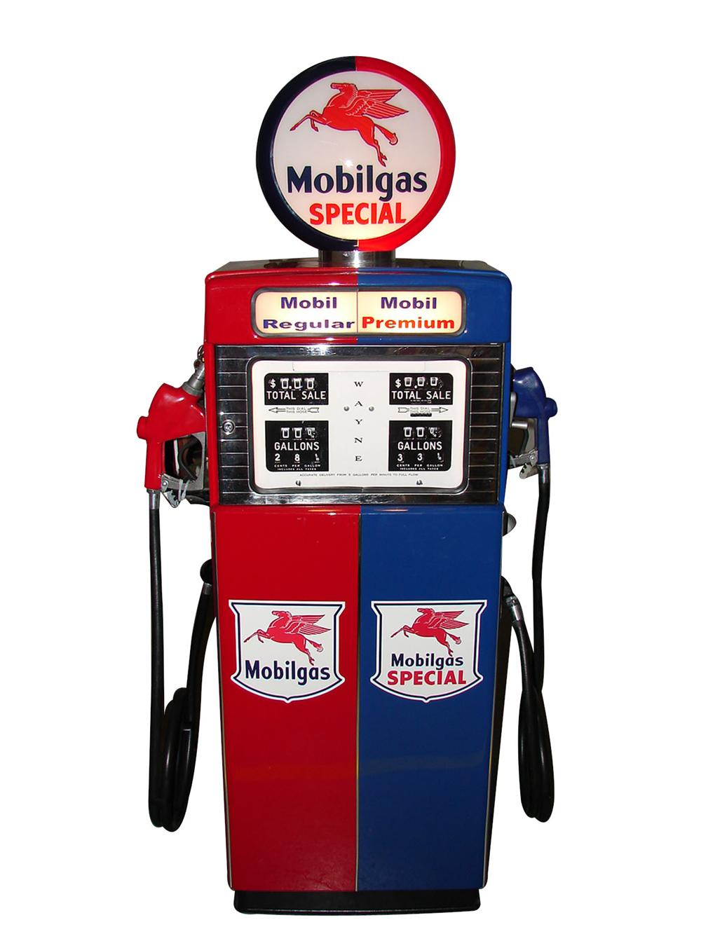 Phenomenal and rare late 1950s-60s Wayne 505 Mobilgas dual product dispensing pump. - Front 3/4 - 133469
