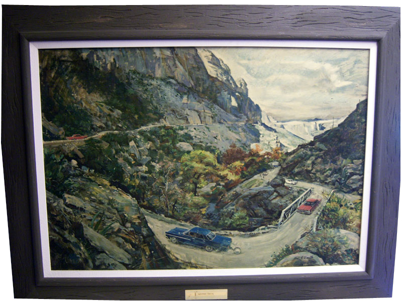 "1963 Pontiac Dealer Showroom framed sales award canvas print depicting Testing Wide-Tracks on the Apache Trail. "" - Front 3/4 - 133470"