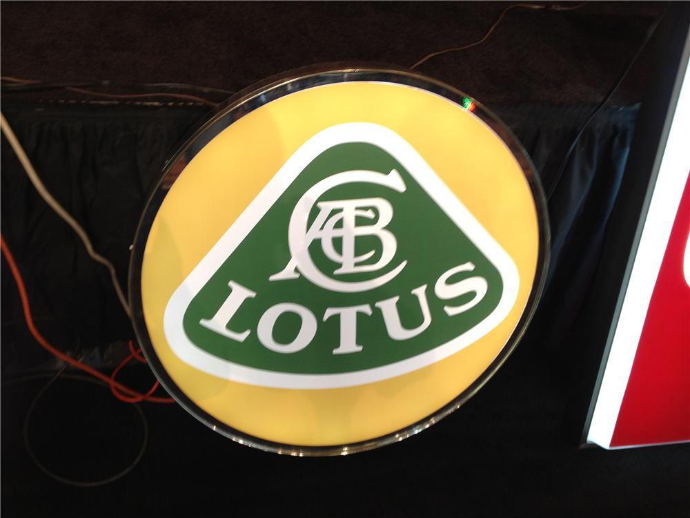 Addendum Item - Hard to find Lotus Automobiles light-up showroom dealership sign. - Front 3/4 - 135115