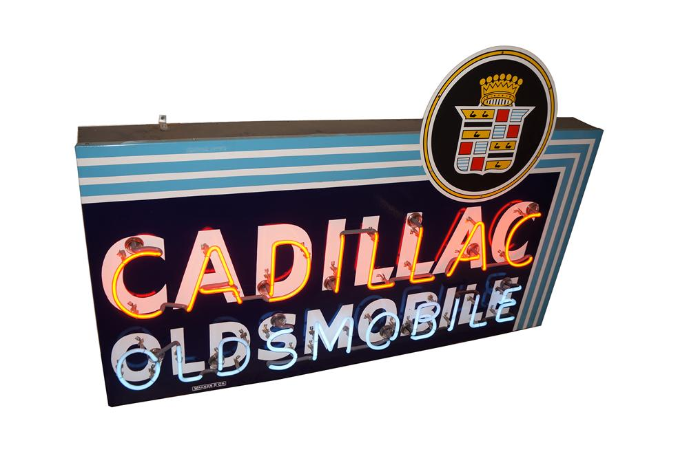 Extremely rare 1940s-50s Cadillac Oldsmobile single-sided neon porcelain dealership sign. - Front 3/4 - 138523