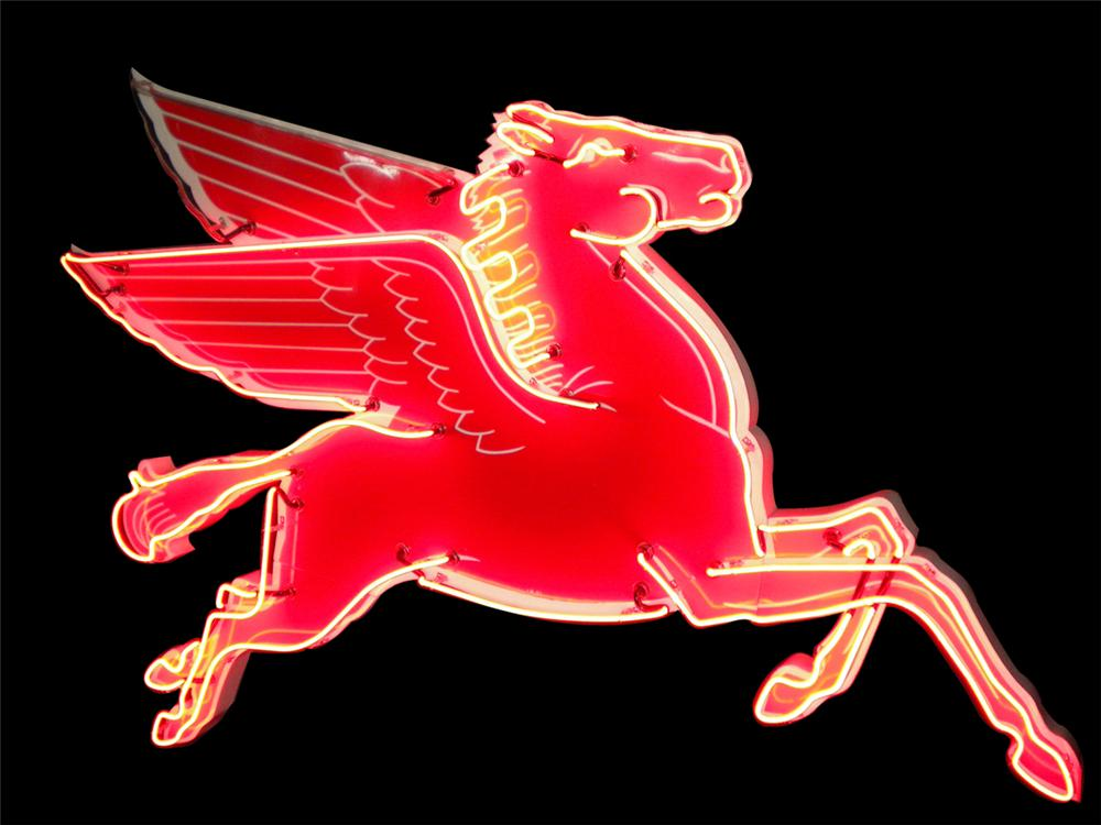 1950s Mobil Oil Pegasus porcelain neon service station sign with animated neon. - Front 3/4 - 138526