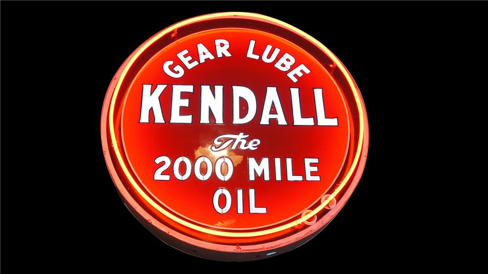 Nearly impossible to find 1930s Kendall Motor Oil double-sided porcelain neon sign with internally lit lettering. - Front 3/4 - 138531