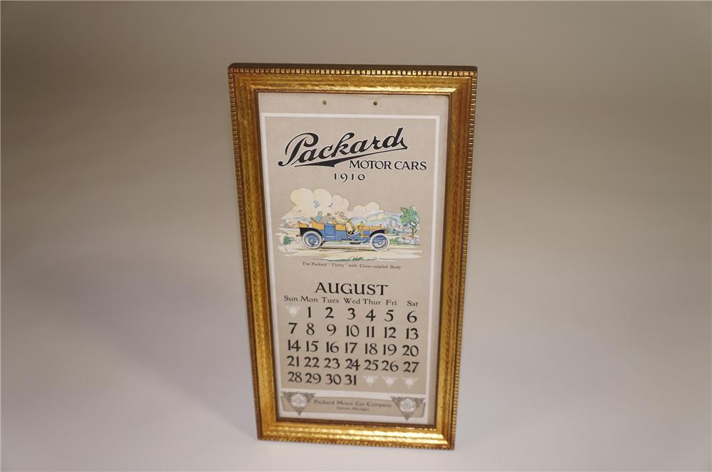 Exquisite August 1910 Packard Motor Cars showroom display cardboard calendar with wonderful touring car artwork. - Front 3/4 - 138535
