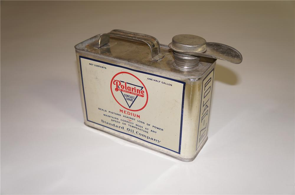 Sharp late teens Standard Polarine Oil solder seamed one-half gallon oil tin with spout. - Front 3/4 - 138537