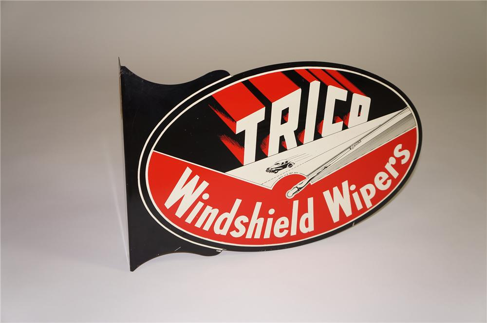Superlative 1940s Trico Windshield Wipers double-sided tin painted garage flange with period automobile graphics. - Front 3/4 - 138538