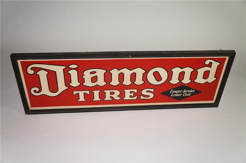 Amazing N.O.S. 1930s Diamond Tires horizontal tin wood framed garage sign. - Front 3/4 - 138541