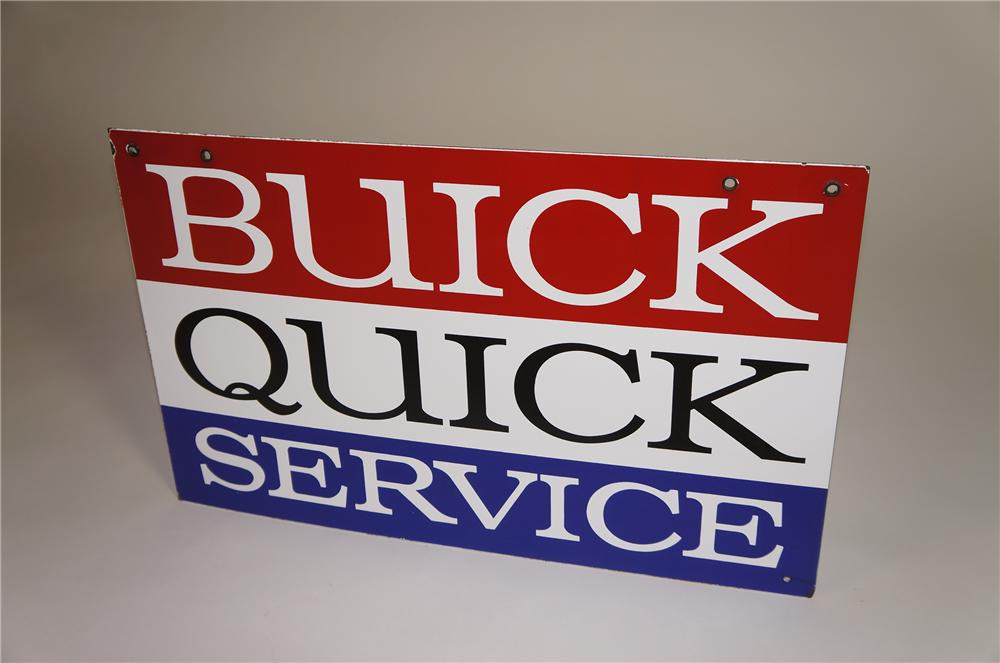 Extremely scarce (smaller version) 1950s Buick Quick Service double-sided porcelain dealership sign. - Front 3/4 - 138542