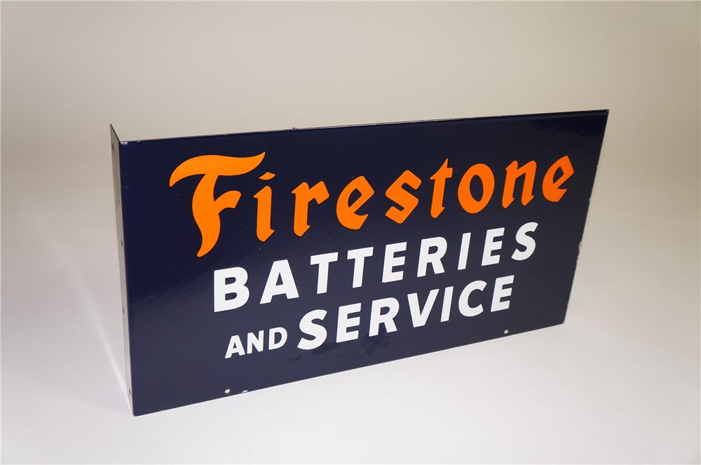 Fabulous 1940s Firestone Batteries and Service double-sided porcelain automotive garage flange sign. - Front 3/4 - 138543