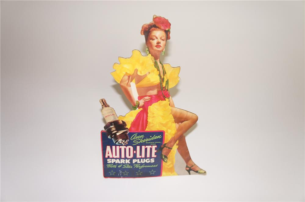 Never before seen 1940s Auto-Lite Spark Plugs easel backed die-cut garage display cardboard featuring Warner Bros. Star Ann ... - Front 3/4 - 138549