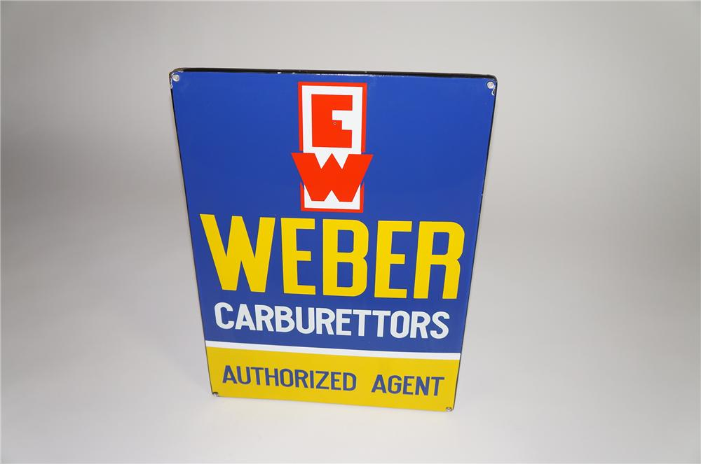 Impressive 1950s Weber Carburetors authorized agent single-sided porcelain automotive garage sign. - Front 3/4 - 138550