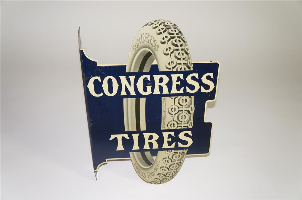 Rare 1920s Congress Tires die-cut tin garage flange with killer period tire graphic. - Front 3/4 - 138553