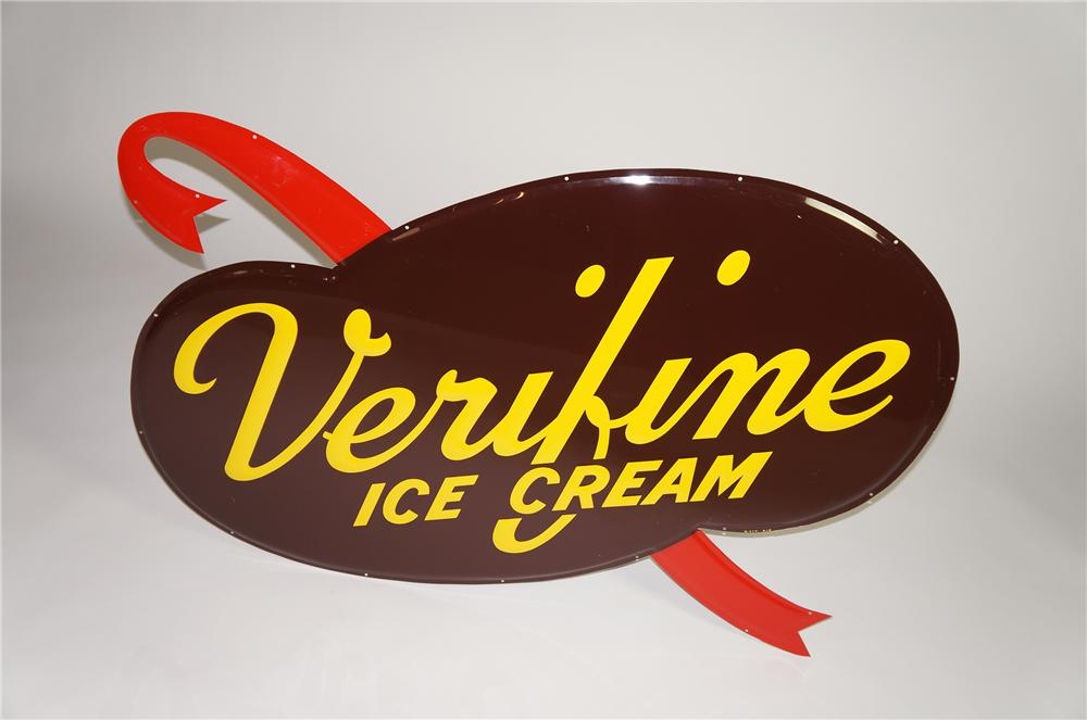 Spectacular N.O.S. 1958 Verifine Ice Cream die-cut embossed tin soda fountain sign. - Front 3/4 - 138555