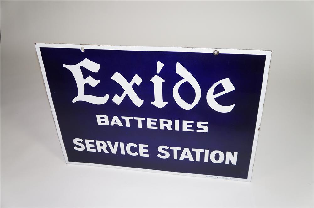 Magnificent 1930s Exide Batteries Service Station double-sided porcelain service garage sign. - Front 3/4 - 138556