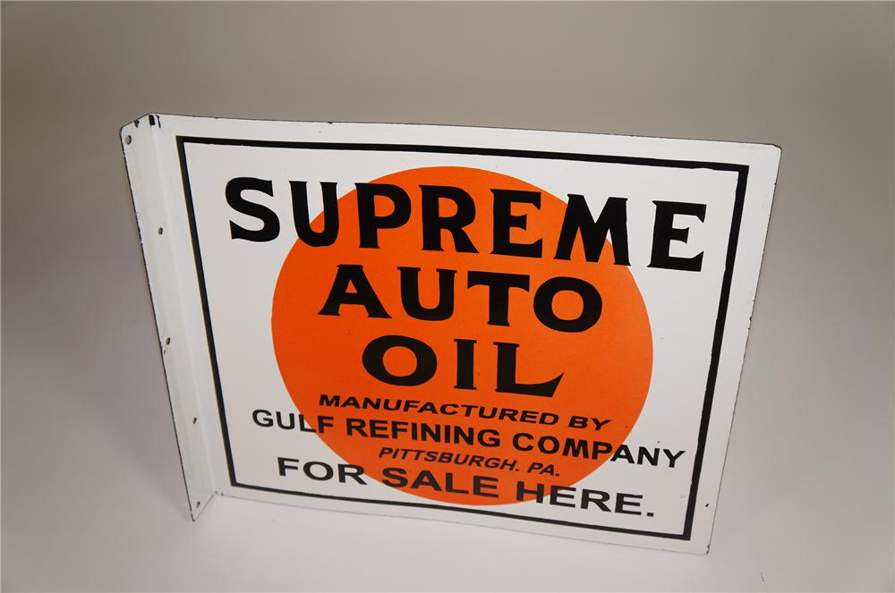 1930s Gulf Supreme Auto Oil double-sided porcelain service station sign. - Front 3/4 - 138559