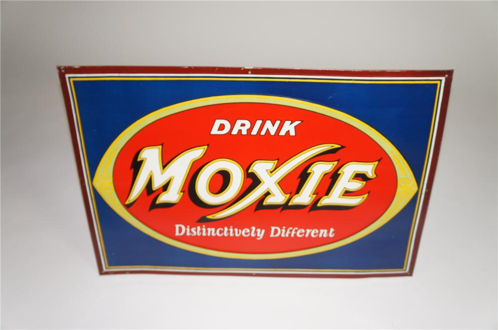 """Gorgeous 1930s Drink Moxie """"Distinctively Different"""" single-sided tin painted soda fountain sign. - Front 3/4 - 138561"""