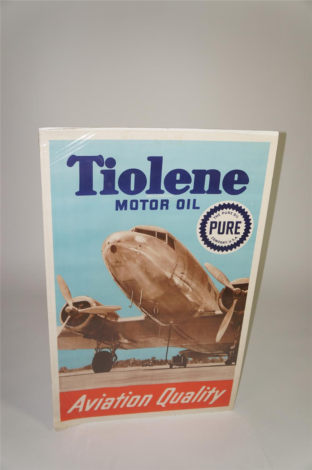 Late 1930s Pure Tiolene Aviation Quality Motor Oil poster with vintage Boeing depicted. - Front 3/4 - 138565
