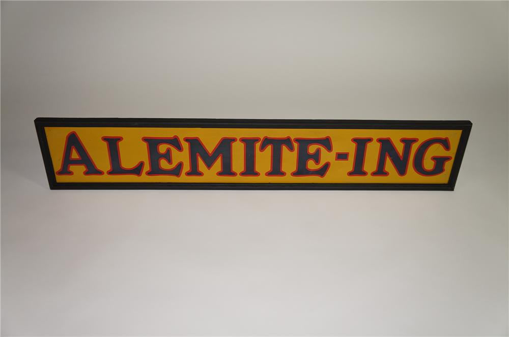 """Choice 1930s Alemite """"Alemite-Ing"""" tin painted wood framed horizontal garage sign.  Very clean! - Front 3/4 - 138569"""
