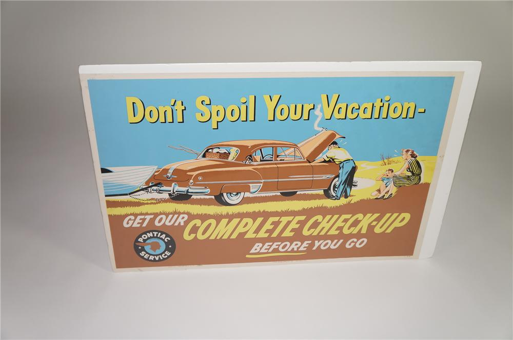"""Nifty 1953 Pontiac """"Complete Check-Up"""" service department display poster with wonderful graphics. - Front 3/4 - 138572"""