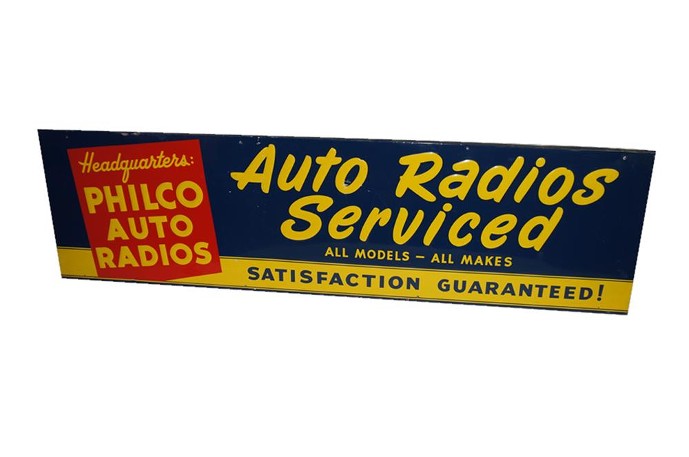 Interesting 1940s-50s Philco Auto Radios Serviced single-sided embossed tin wood framed automotive garage sign. - Front 3/4 - 138575