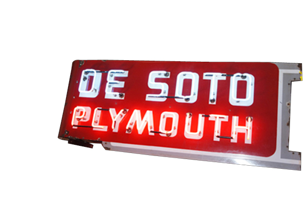 Fantastic 1950s Desoto-Plymouth double-sided neon porcelain dealership sign. - Front 3/4 - 138580