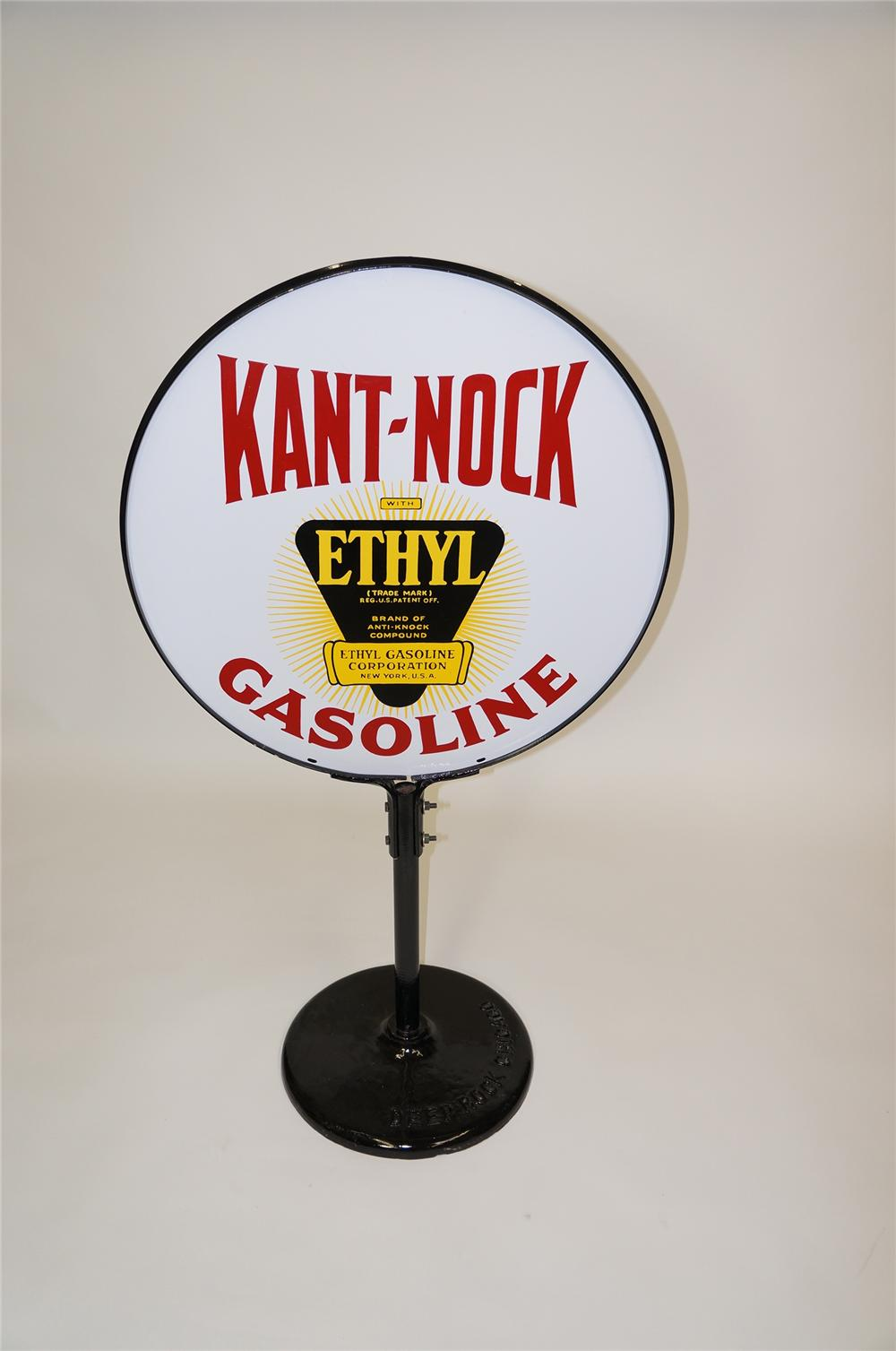 Nicely restored 1930s Kant Knock with Ethyl Gasoline double-sided porcelain service station curb sign. - Front 3/4 - 138597