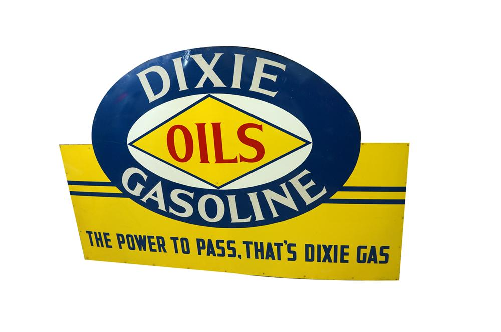 """Superb 1946 N.O.S. Dixie Gas """"The Power to Pass"""" single-sided tin wood framed service station sign. - Front 3/4 - 138598"""