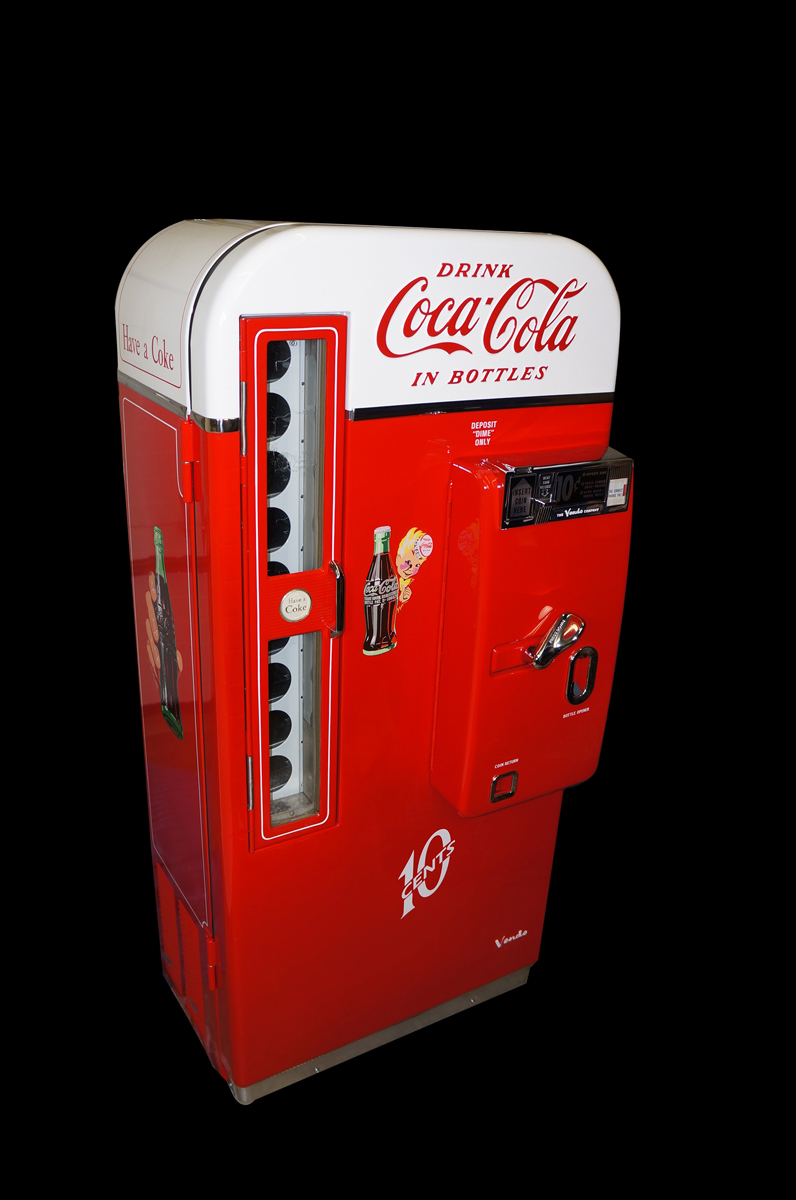 Killer 1950 professionally restored Coca-Cola Vendo 81 ten cent coin-operated service station soda machine. - Front 3/4 - 138600