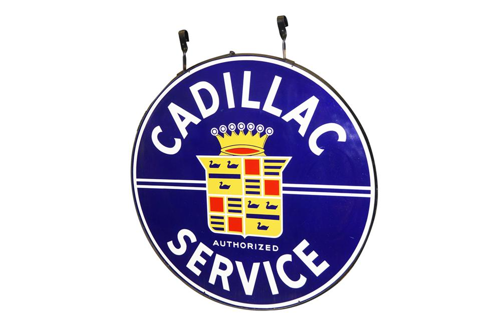 Extraordinary large 1940s Cadillac Authorized Service double-sided porcelain dealership sign still in the original hanging ring. - Front 3/4 - 138601