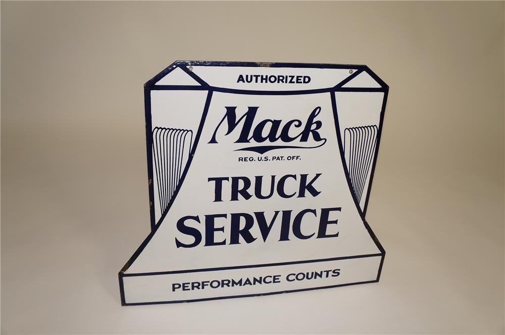 "Extremely rare 1920s Mack Truck Service ""Performance Counts"" double-sided porcelain dealership sign. - Front 3/4 - 138609"