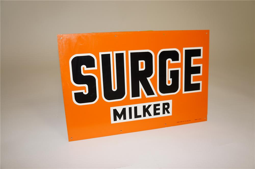 N.O.S. vintage Surge Milker single-sided tin sign. - Front 3/4 - 138614