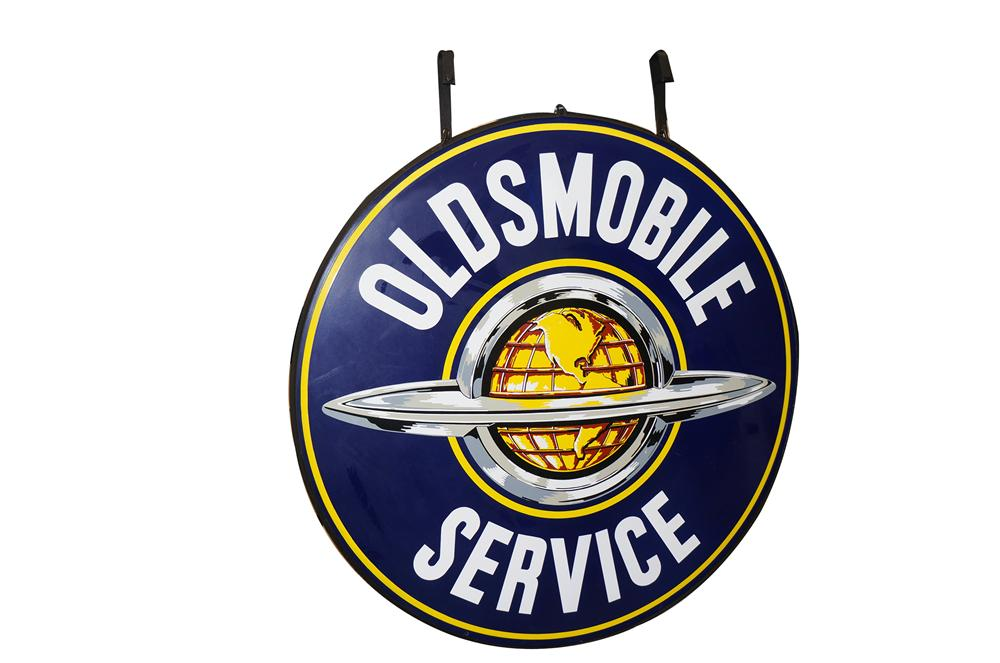 Choice very clean 1950s Oldsmobile Service double-sided porcelain dealership sign with world globe logo. - Front 3/4 - 138615