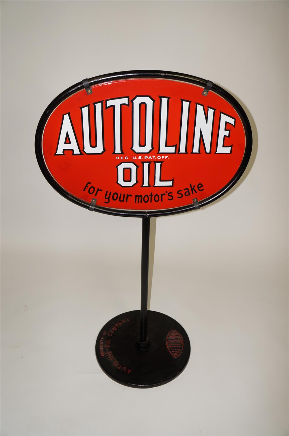 "Rare 1930s Autoline Oil ""For Your Motors Sake"" double-sided porcelain service station curb sign. - Front 3/4 - 138618"