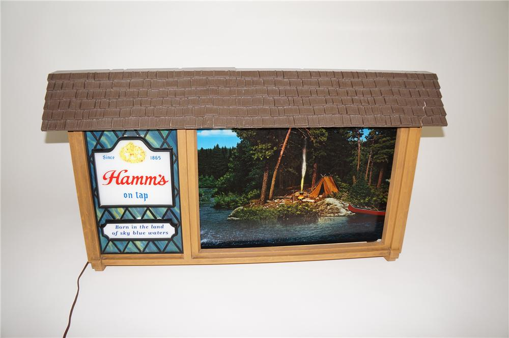 Highly prized 1950s-60s Hamms Beer Scene-O-rama light-up tavern sign with scrolling camping scenes. - Front 3/4 - 138619