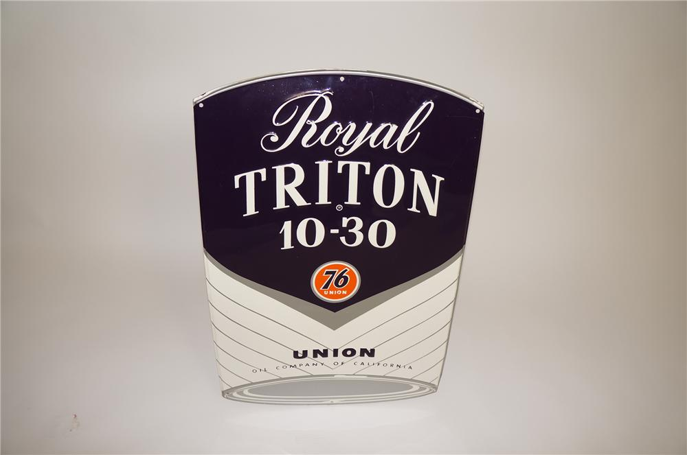 N.O.S. late 1950s Union 76 Royal Triton Motor Oil die-cut tin can shaped service station sign. - Front 3/4 - 138620