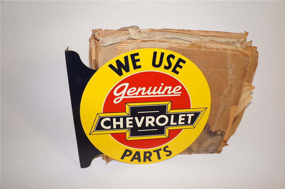 """1930s-40s Chevrolet Genuine Parts double-sided tin painted dealership flange  19""""x18""""x2"""" - Front 3/4 - 138625"""