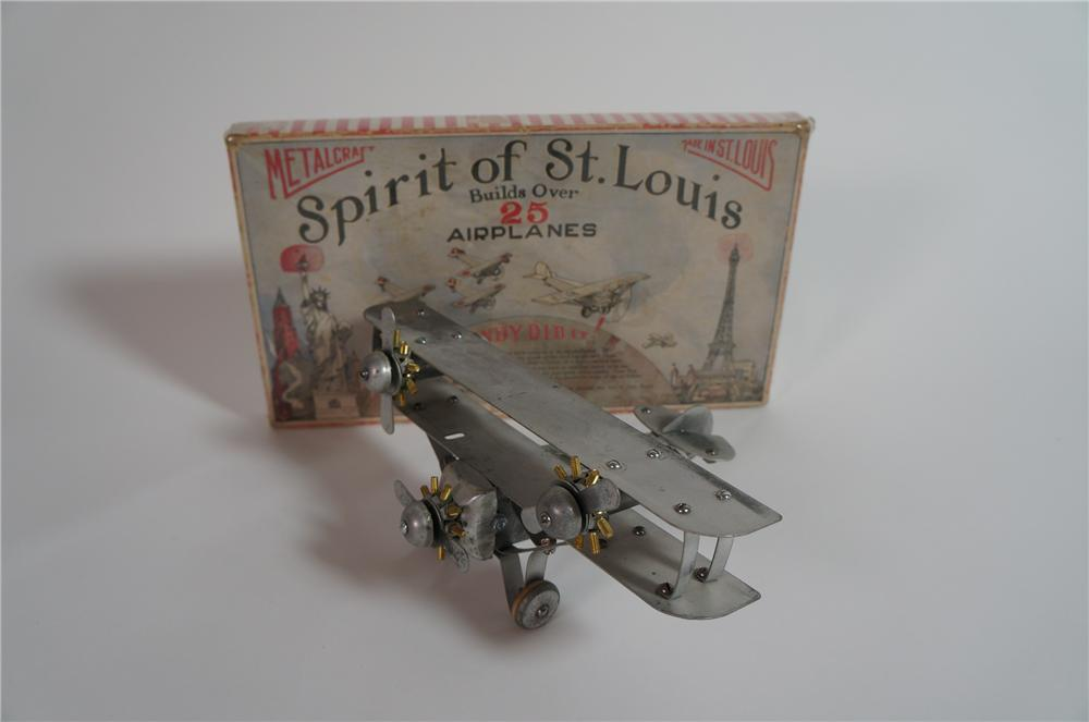 Impressive 1920s Spirit of St. Louis Airplane kit by Metalcraft with original box. - Front 3/4 - 138626