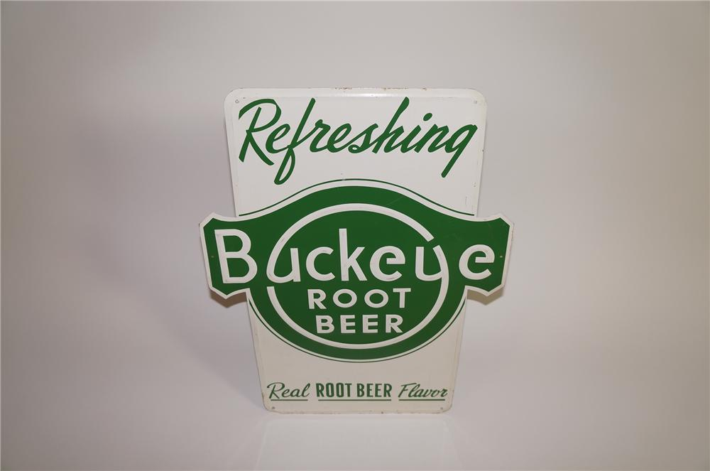 N.O.S. 1940s Buckeye Root Beer single-sided embossed tin soda fountain sign. - Front 3/4 - 138627