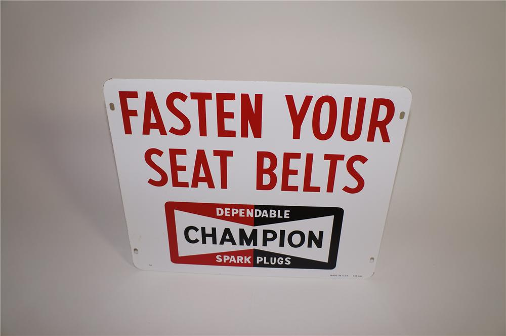 "Neat 1950s Champion Spark Plugs Airport Runway ""Safety Belt"" double-sided tin sign. - Front 3/4 - 138628"