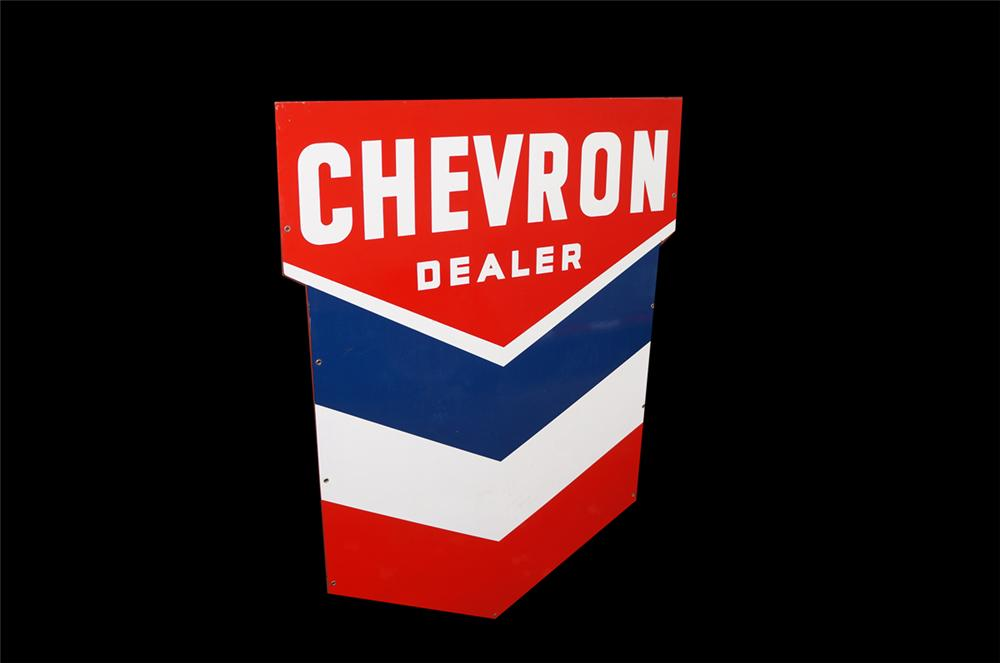 Fabulous N.O.S. 1950s Chevron Oil double-sided porcelain service station sign. - Front 3/4 - 138631