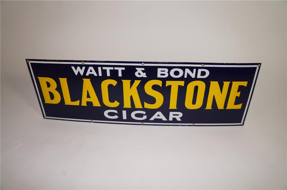 Very clean 1930s Blackstone Cigar porcelain general store sign with embossed lettering. - Front 3/4 - 138633
