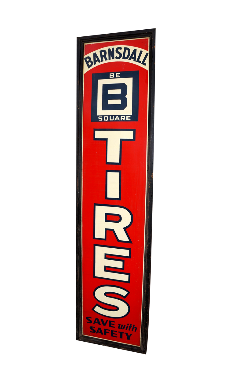 """Phenomenal 1936 Barnsdall """"Be-Square"""" Tires wood framed vertical tin garage sign. - Front 3/4 - 138634"""