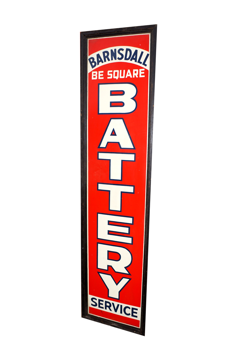 "Hard to find   N.O.S. 1936 Barndall ""Be-Square"" Battery Service wood framed vertical tin garage sign. - Front 3/4 - 138636"