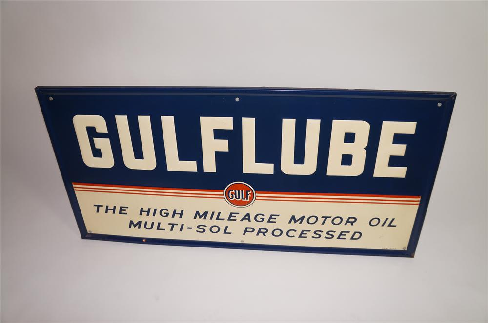"N.O.S. 1948 Gulf Oil ""Gulflube"" wood framed embossed tin garage sign. - Front 3/4 - 138639"