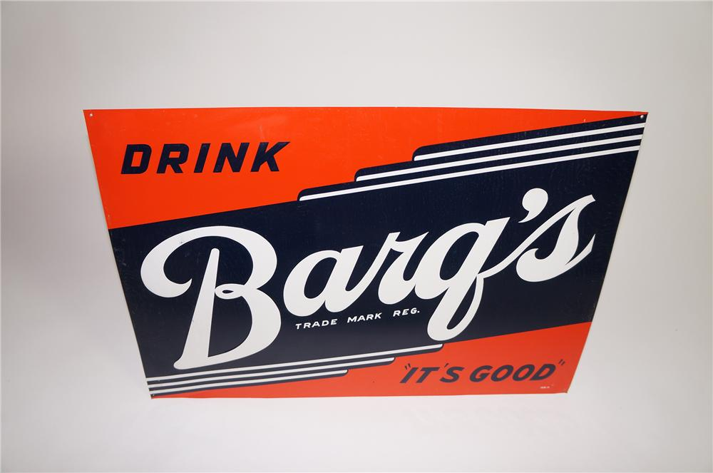 "N.O.S. 1950s Barqs Root Beer ""Its Good"" single-sided tin sign.  Pulled out of the original shipping paper. - Front 3/4 - 138640"