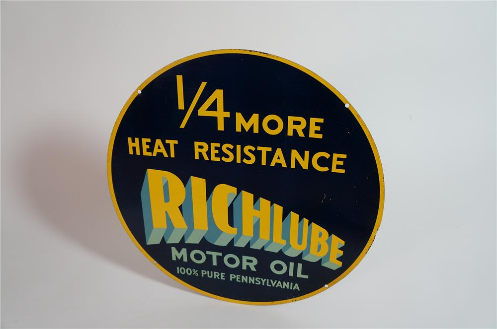 "Scarce Richfield ""Richlube"" Motor Oil double-sided tin painted garage sign. - Front 3/4 - 138642"