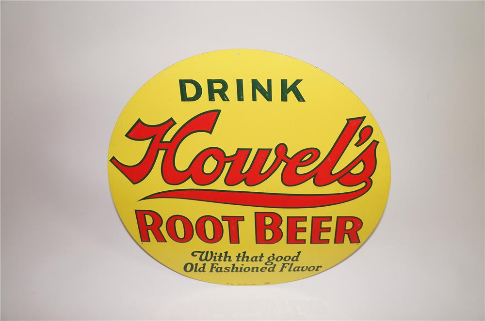 Immensely clean N.O.S. 1930s Howels Root Beer die-cut embossed tin sign. - Front 3/4 - 138643