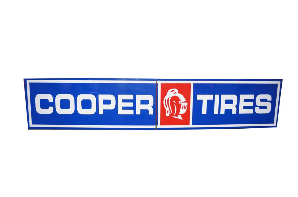 Large Cooper Tires two-piece wood framed tin automotive garage sign. - Front 3/4 - 138645